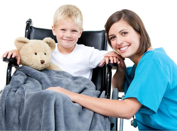 Nurse and a young boy