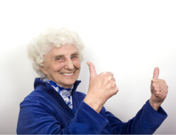 elder showing two thumbs up